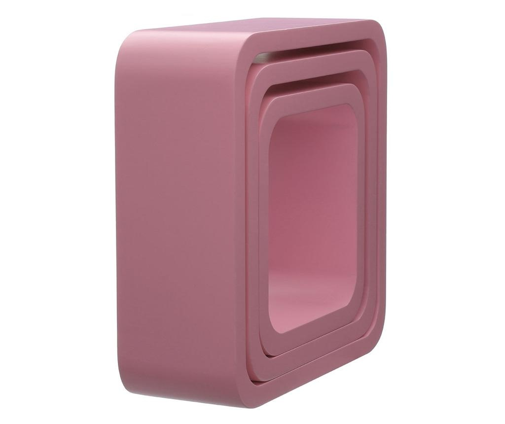 Cube Rounded Pink 3 db Fali polc