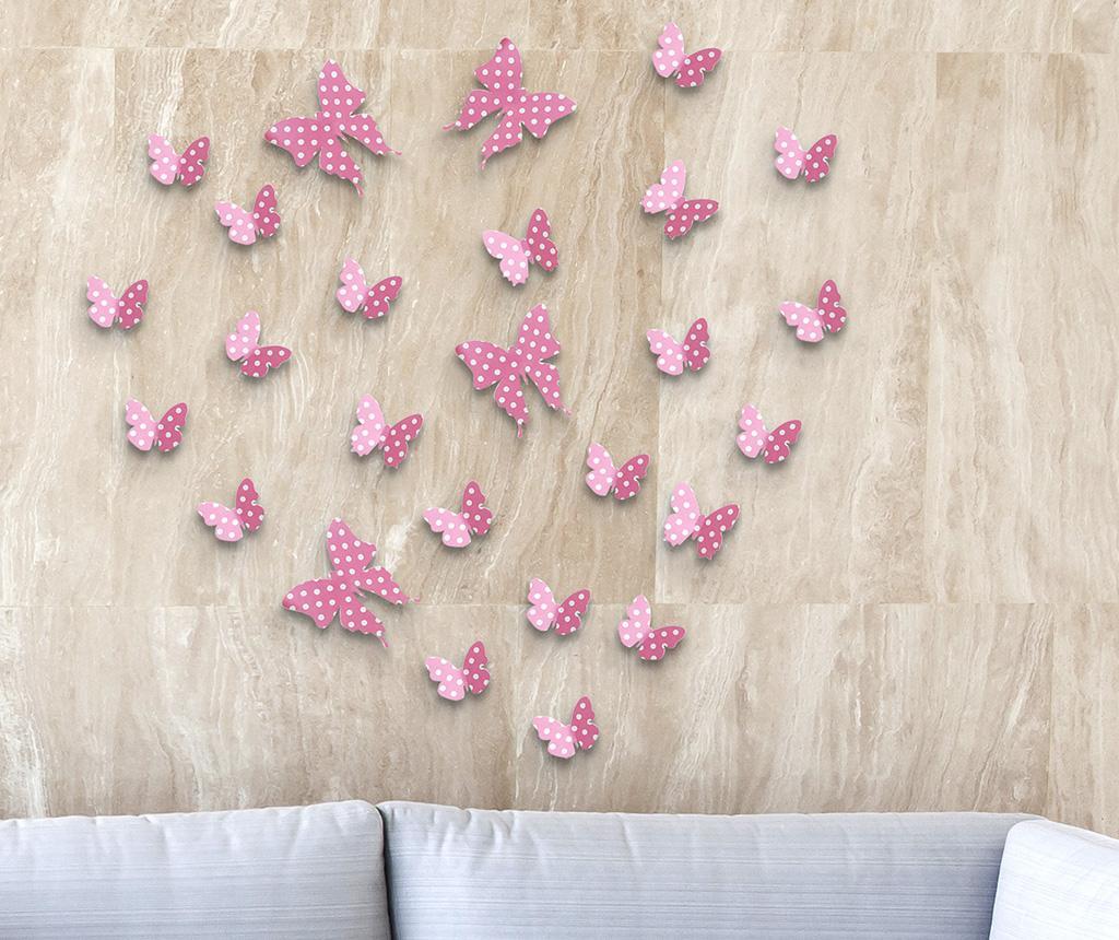 Set 10 naljepnica 3D Strawberry Butterflies