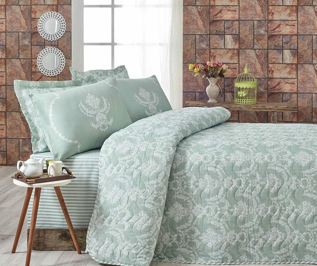 Pure Water Green Kétszemélyes steppelt ágytakaró garnitúra