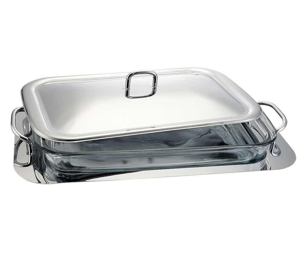 Posuda za pečenje s  poklopcem i držač Black Silver 3 L