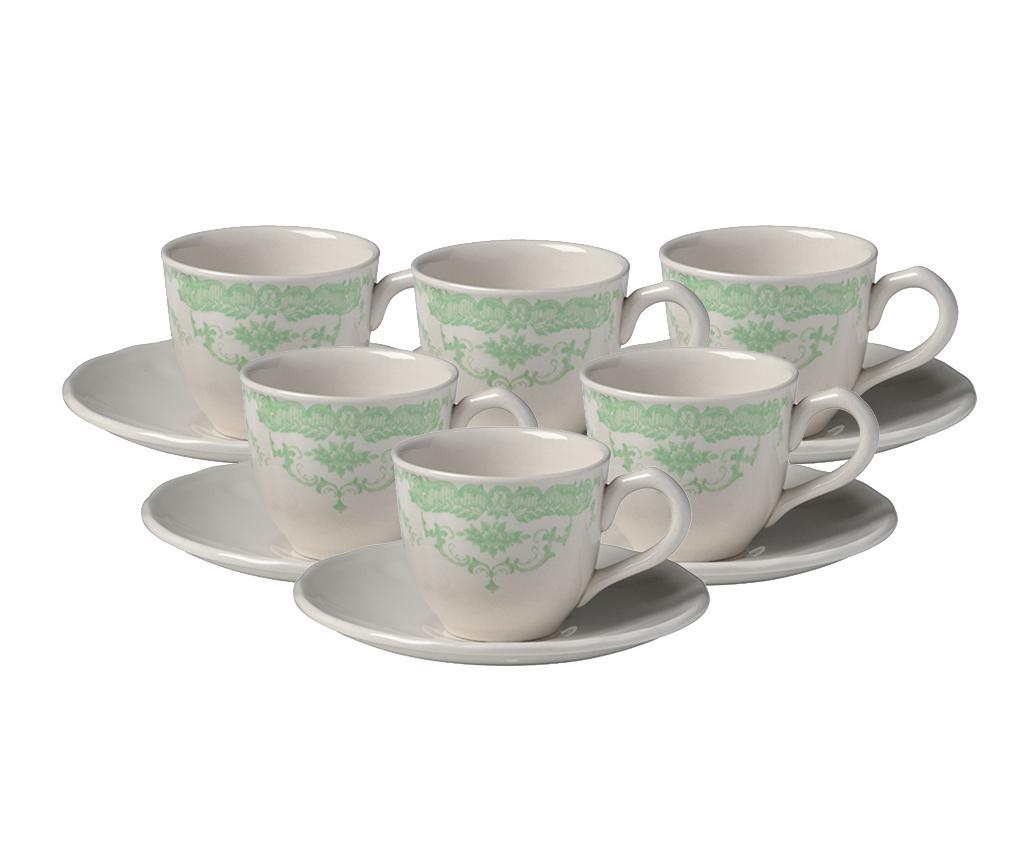 Set 6 cesti si 6 farfurioare pentru cafea Rose Green