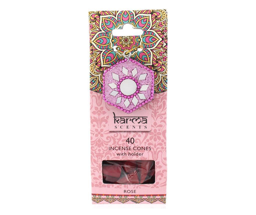 Set 40 conuri parfumate si suport Karma Rose