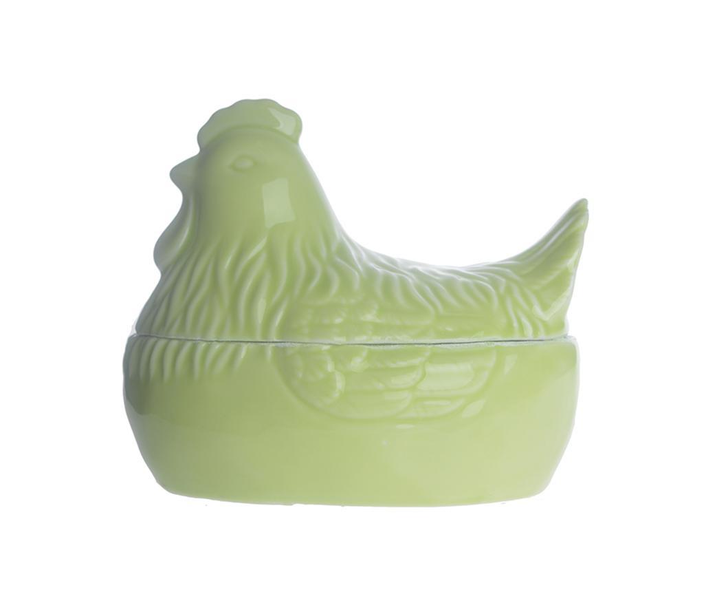 Kuba Hen Green Dekoratív edény fedővel M