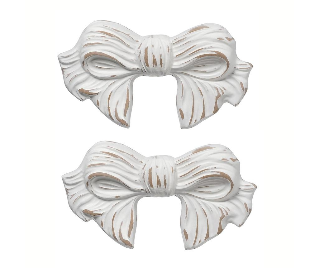 Set 2 zidna ukrasa Ribbon Antique White