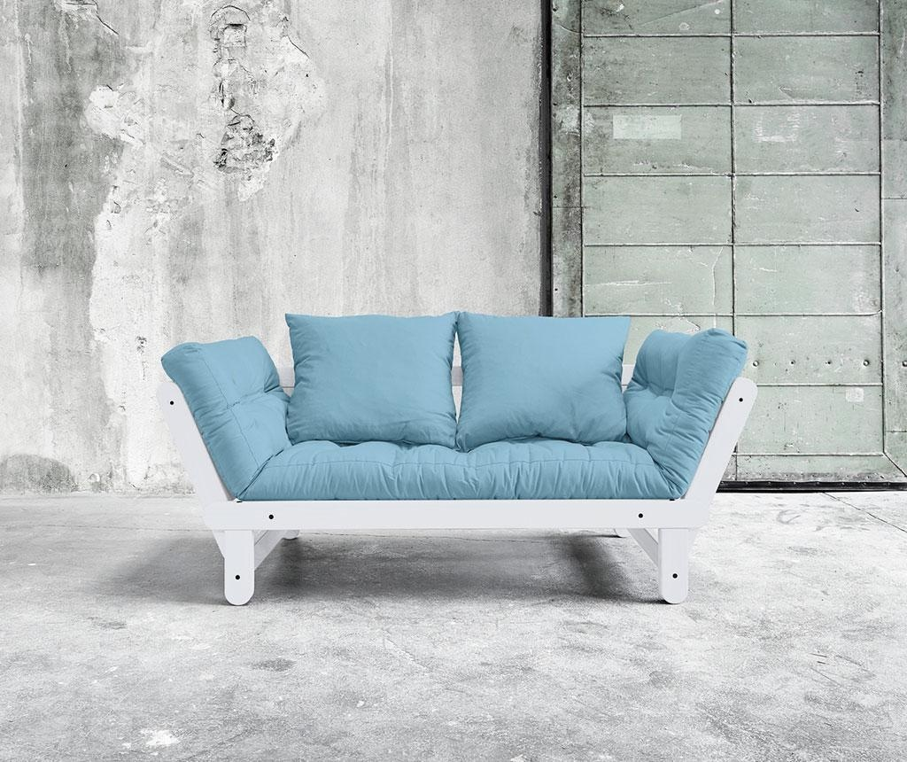 Sofa extensibila Beat White and Light Blue