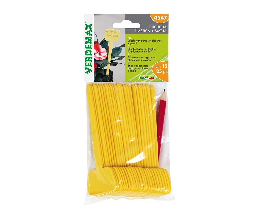 Yellow 25 db Növény címke és  ceruza