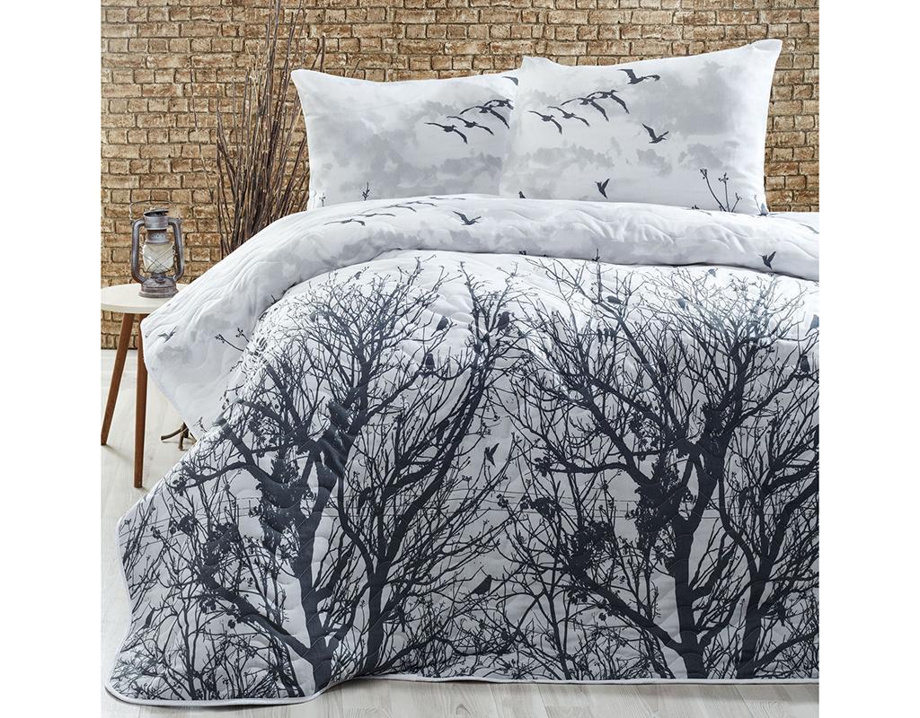 Set s prešitim posteljnim pregrinjalom Double Peace Grey