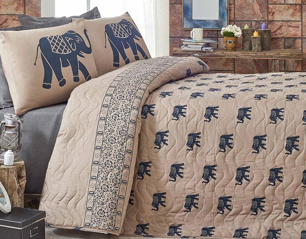 Set cuvertura matlasata Double Elephant Brown Dark Blue
