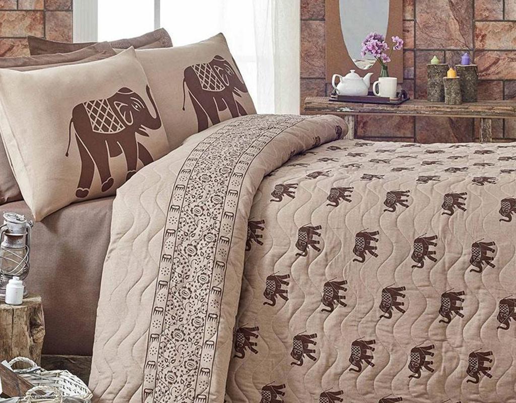 Set cuvertura matlasata Double Elephant Brown