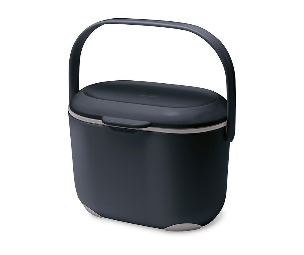 Recipient cu capac pentru compost Caddy Black Grey 2.5 L