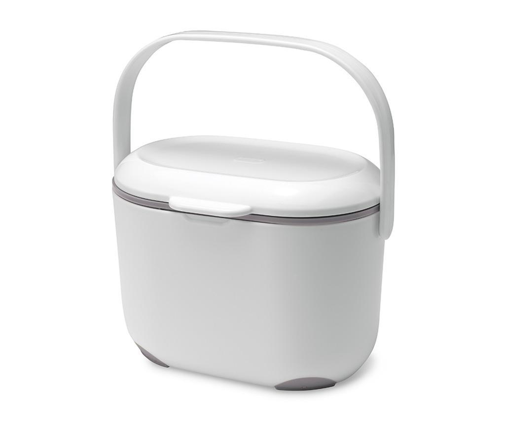 Recipient cu capac pentru compost Caddy White Metallic 2.5 L