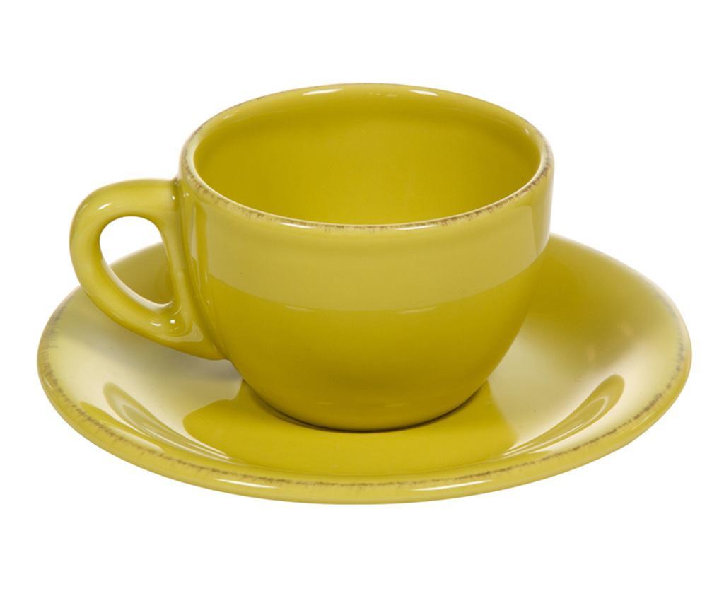 Set 6 skodelic in 6 krožničkov Amelie Yellow