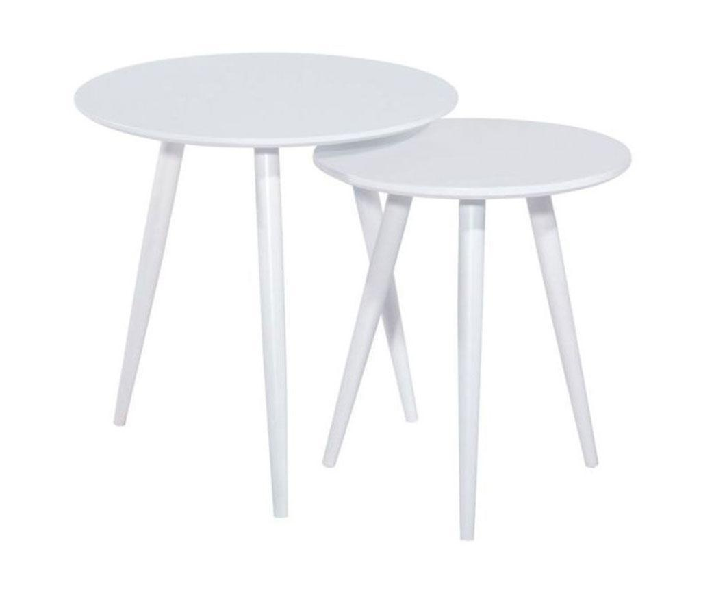 Set 2 klubskih mizic Cleo White
