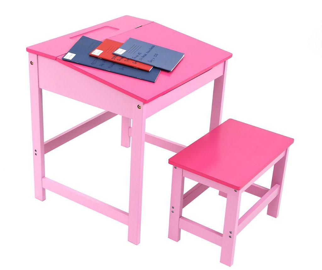 Set birou cu scaun pentru copii Julyan Pink