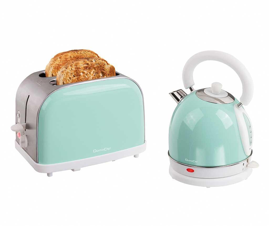 Set prajitor de paine si fierbator electric Vintage Breakfast Mint