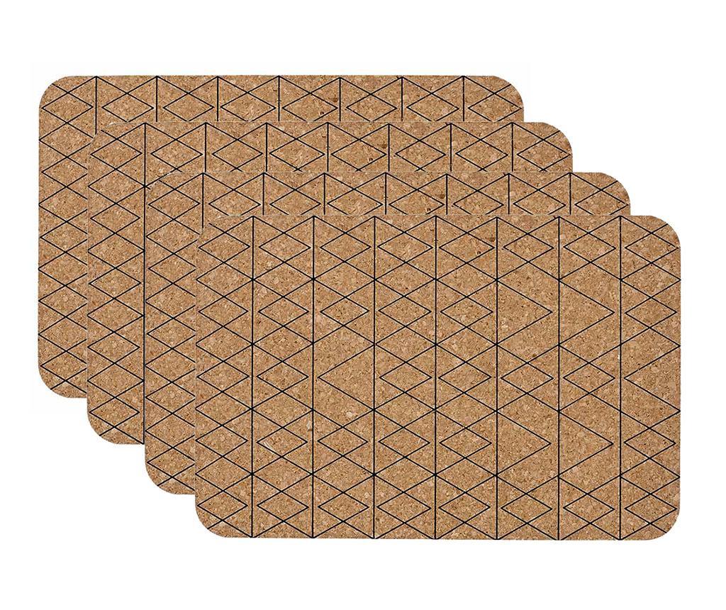 Set 4 suporturi farfurii Mali Black 30x45 cm