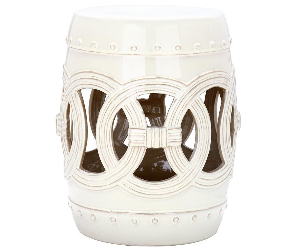 Taburet decorativ Ibiza Vintage White
