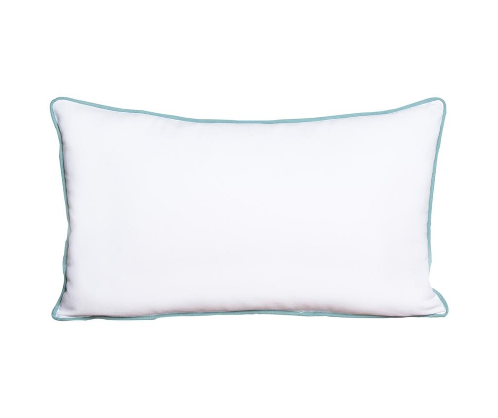 Perna decorativa Crissya White and Turquoise 30x50 cm