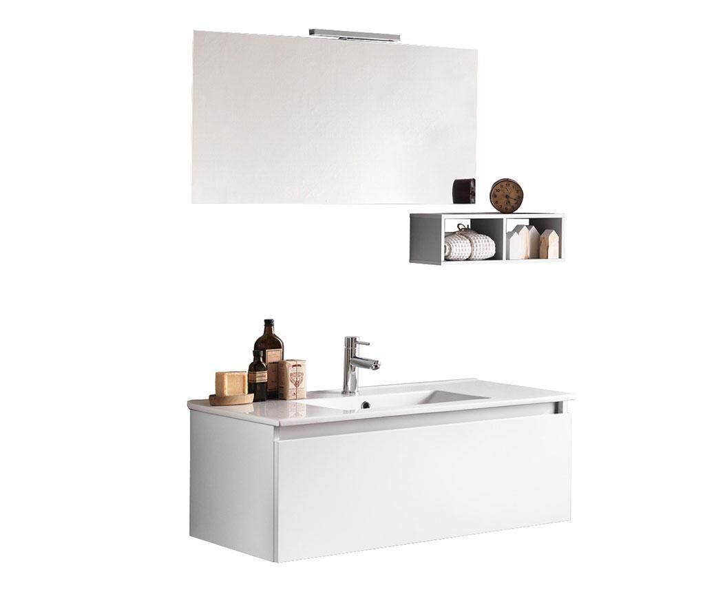 Pięcioczęściowy zestaw mebli łazienkowych Ibiza Matte White Simple