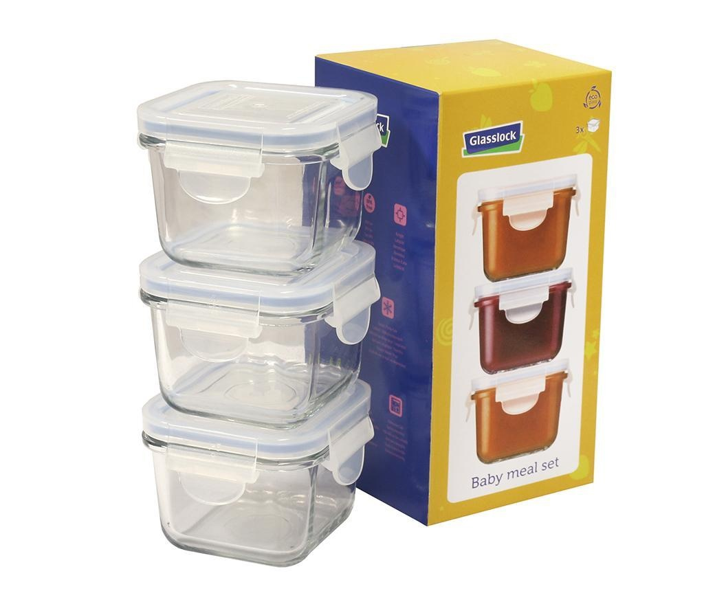 Set 3 zdjele s hermetičkim poklopcem Yum Yum Baby Square 210 ml