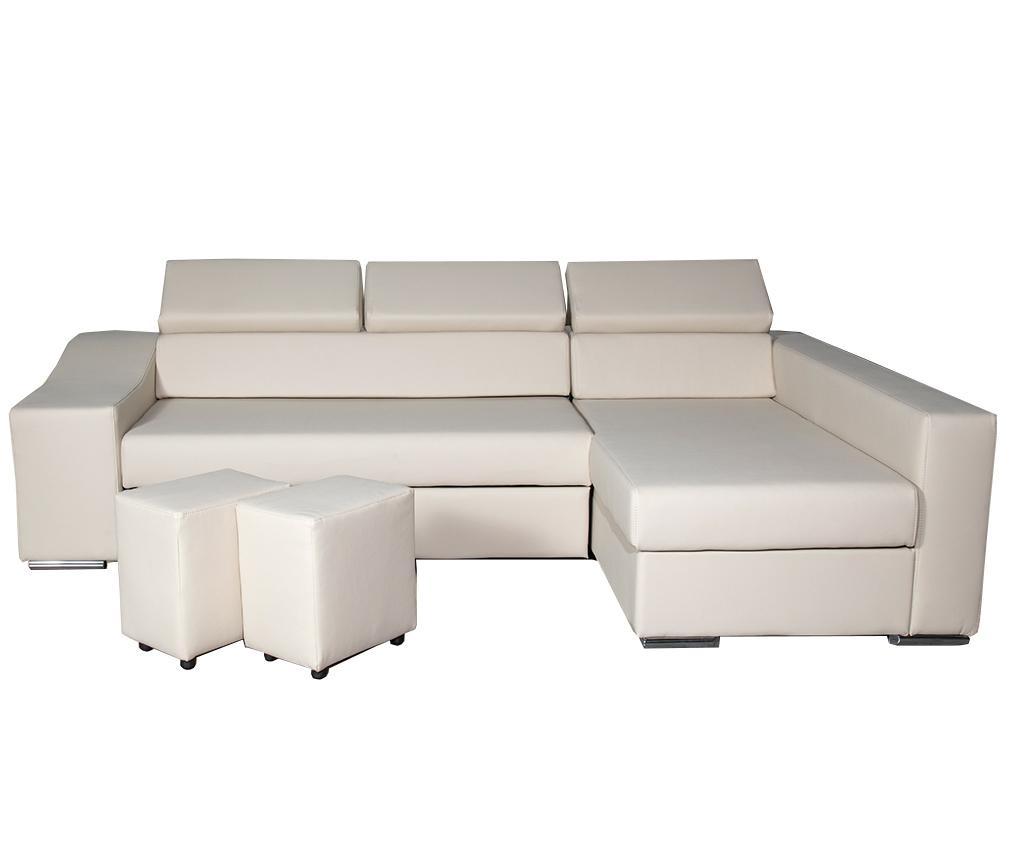 Set desne raztegljive kotne sedežne garniture z 2 tabureji Galiardo Dario Creme
