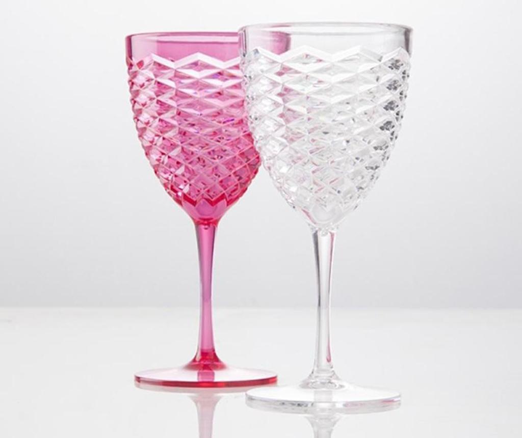 Set 2 kozarcev na peclju Summer Pink and Transparent 500 ml