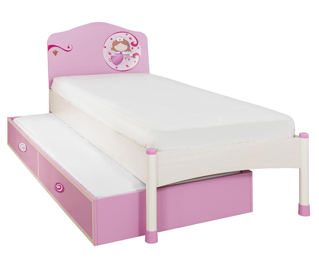 Set pat si extensie tip sertar pentru copii Princess