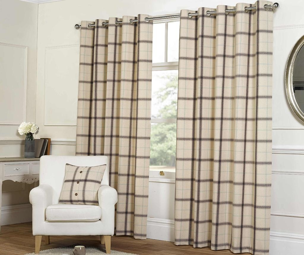 Set 2 draperii Plaid Check Natural 229x229 cm