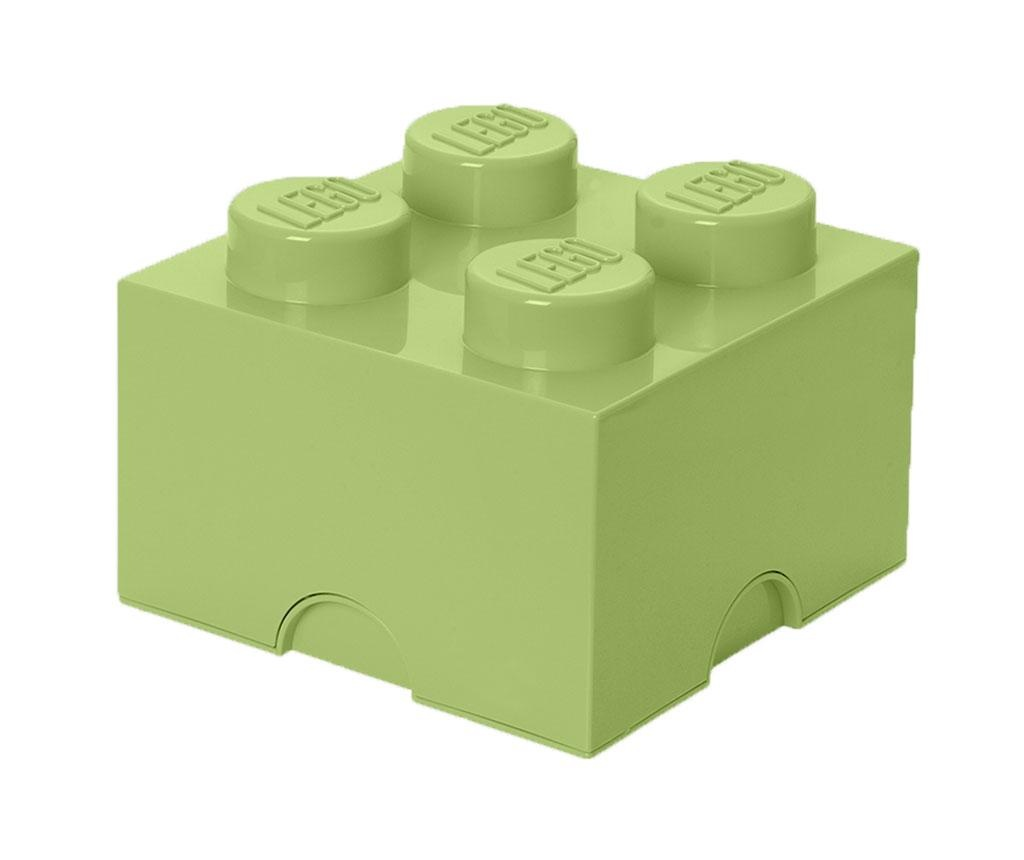 Lego Square Four Yellowish Green Doboz fedővel
