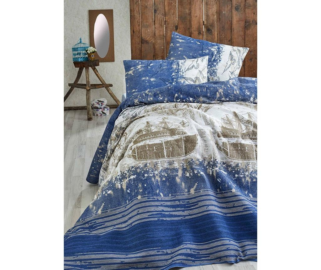Pricilla Dark Blue Pique Ágytakaró 160x235 cm