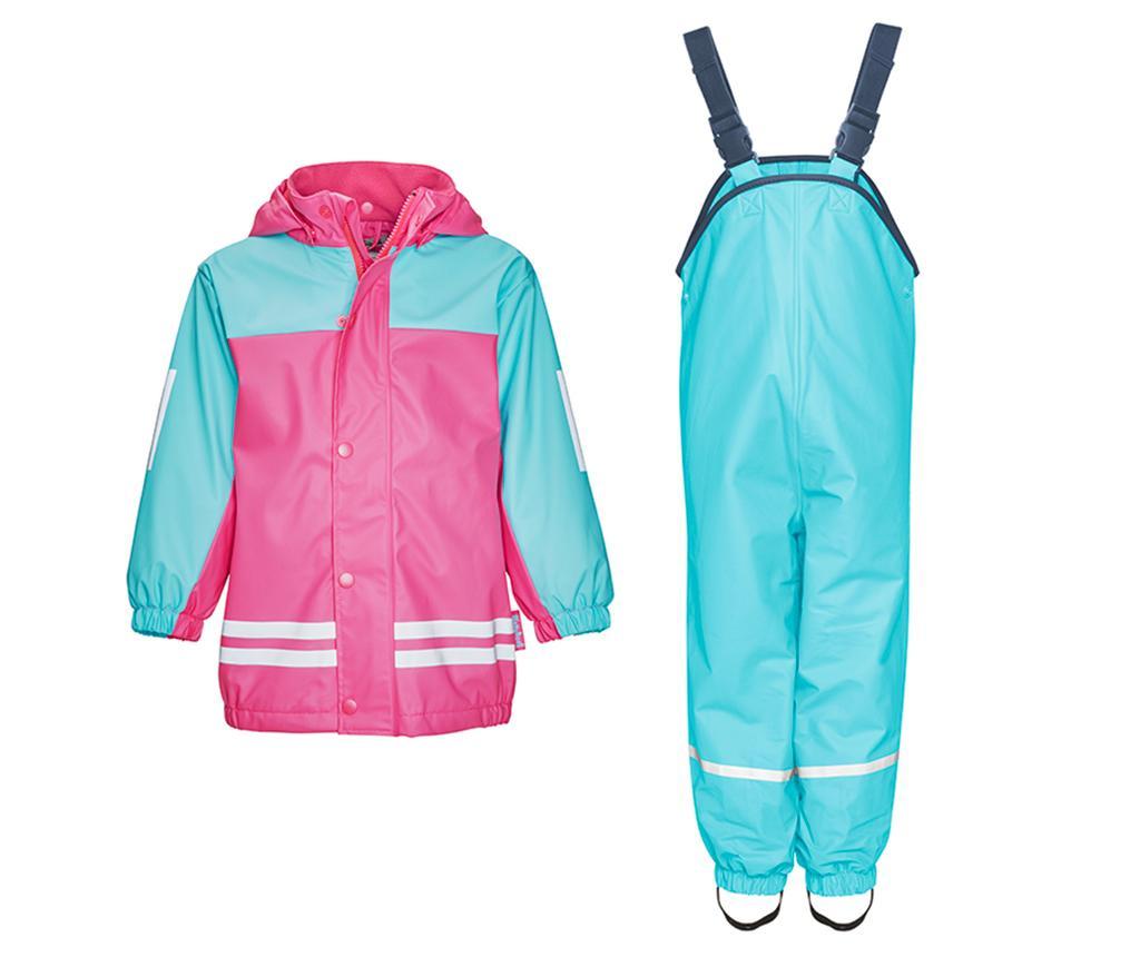 Komplet - otroška vodoodporna jakna in kombinezon Duo Colors Turquoise Pink 18-24 mesecev