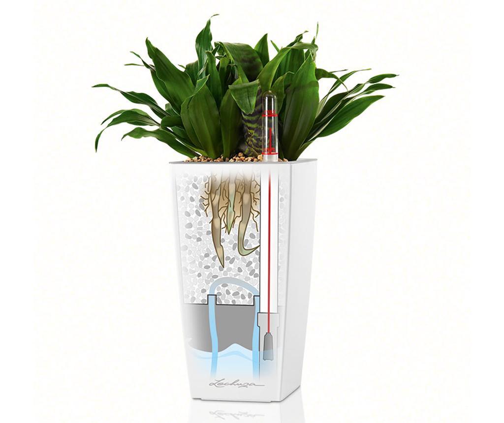 Set - cvetlični lonec z auto-namakalnim sistemom in držalo Cubi Dark Grey S