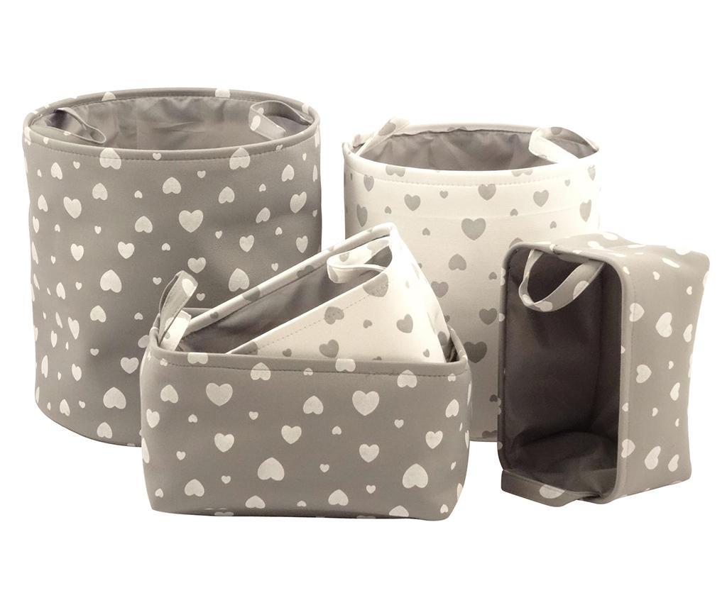Set 5 cosuri Beige and Grey Hearts