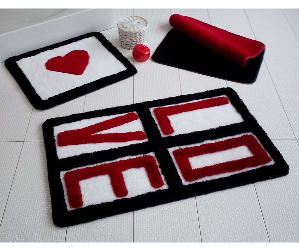 Set 3 kopalniških preprog Love Red