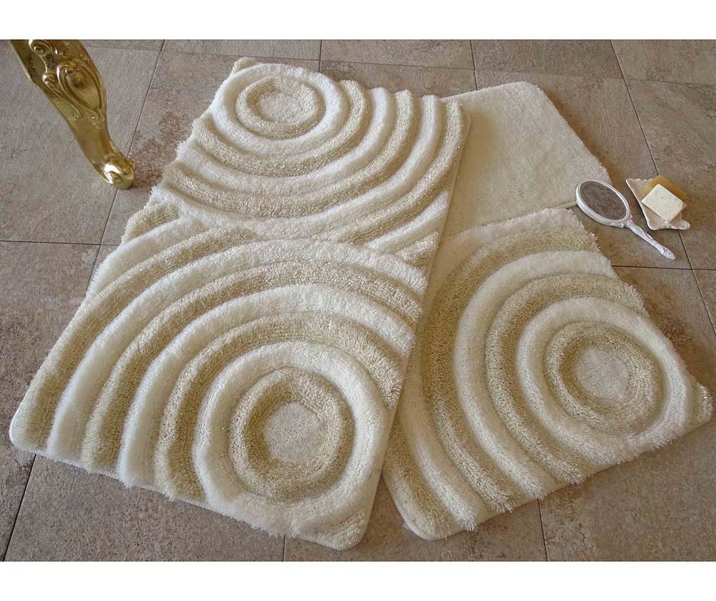 Set 3 tepiha za kupaonicu Wave Ecru