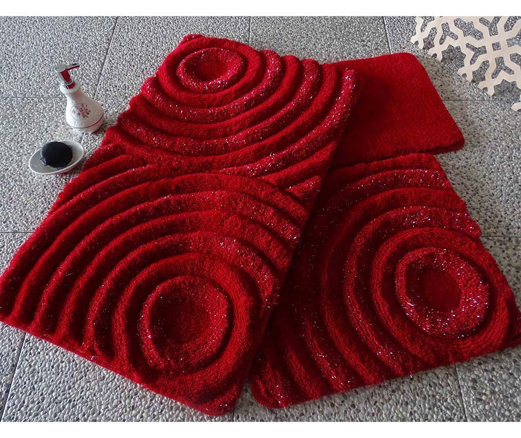 Wave Red 3 db Fürdőszobai szőnyeg