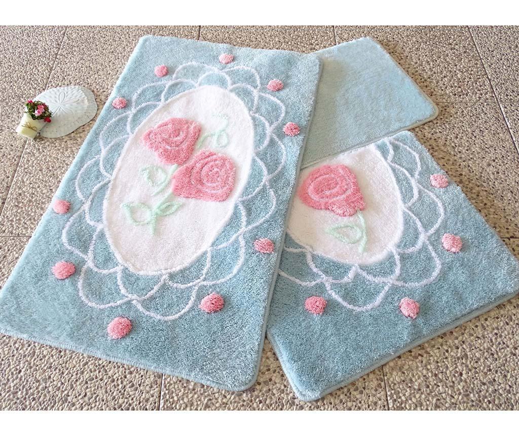 Set 3 tepiha za kupaonicu Dantel Blue