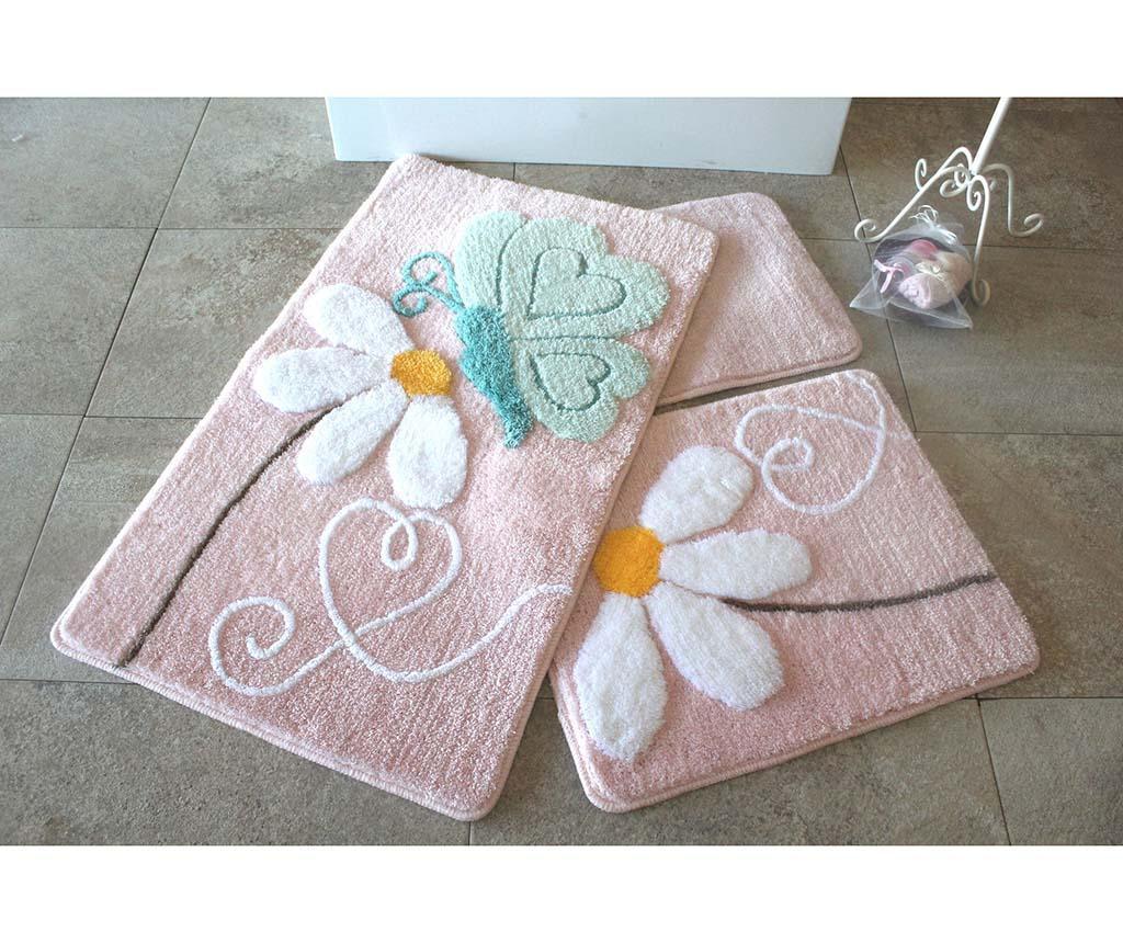 Sada 3 kúpeľňových predložiek Ponte Pink