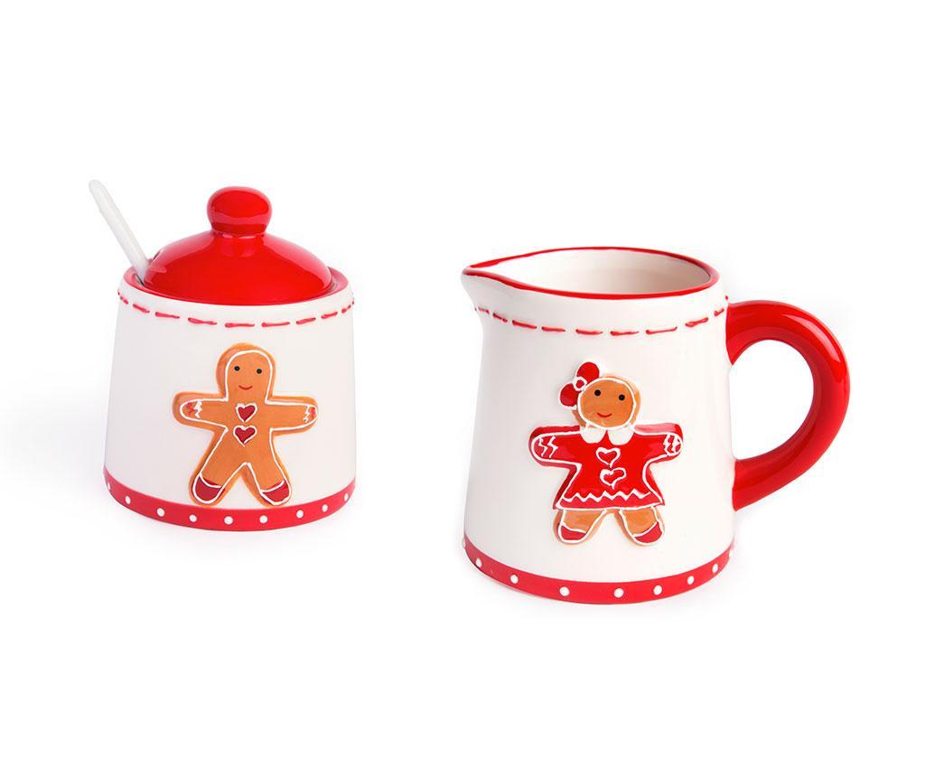 Set latiera si zaharnita cu lingurita si capac Gingerbread Boy and Girl