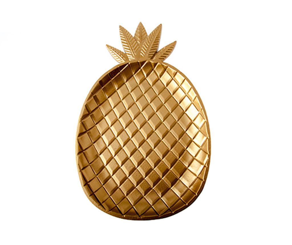Dekorativni krožnik Pineapple Wood Gold M