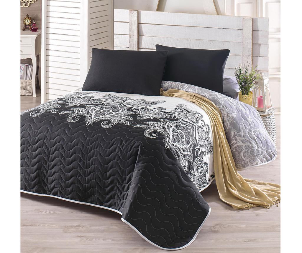Set s prešitim posteljnim pregrinjalom Double Artful Black