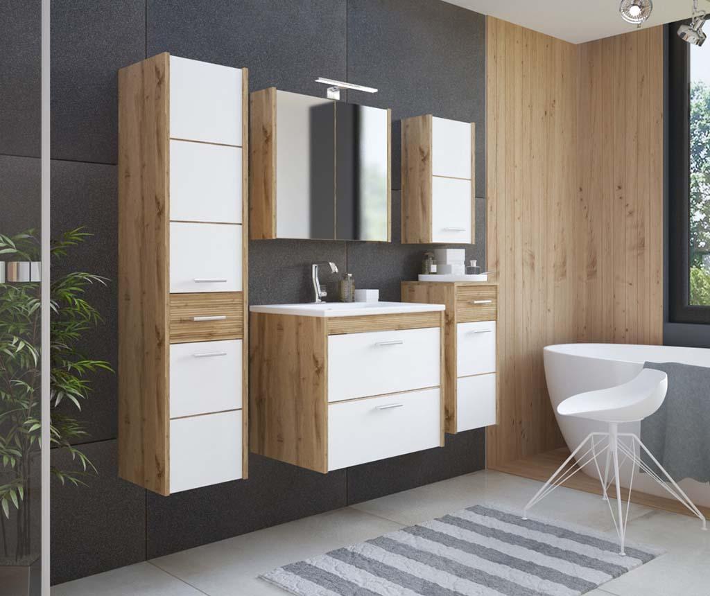 Ibiza White and Wood Fali szekrény