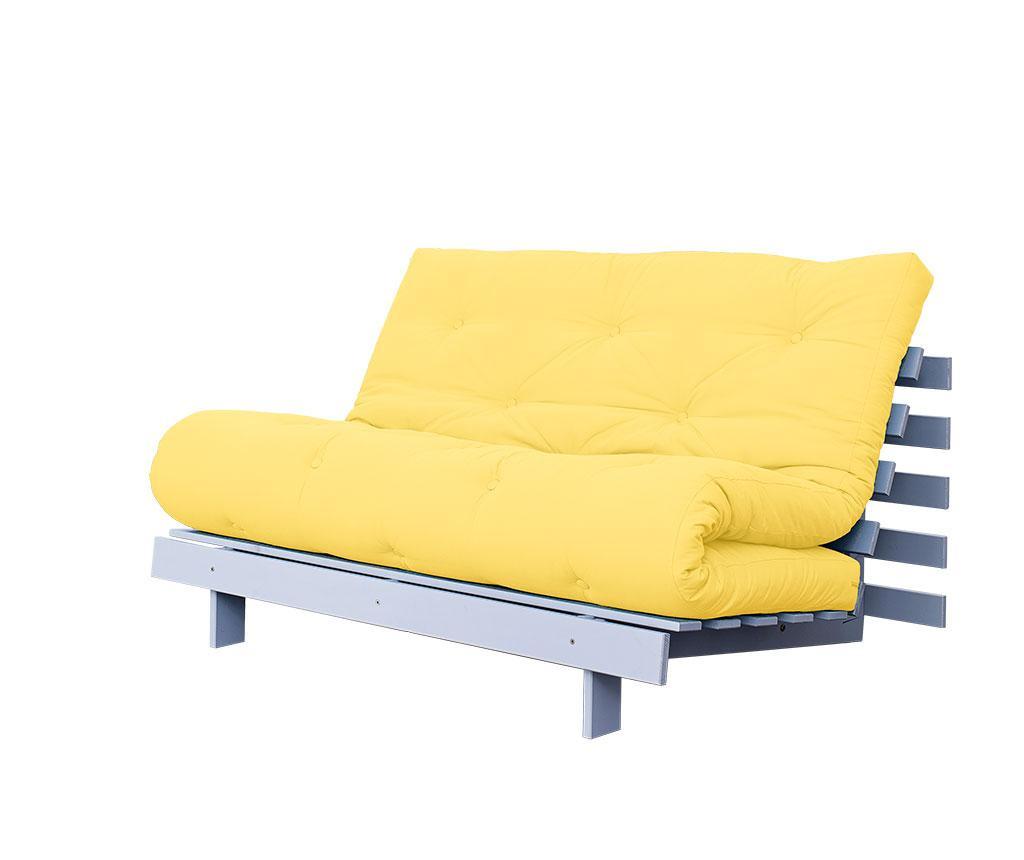 Sofa extensibila Roots White and Amarillo 140x200 cm