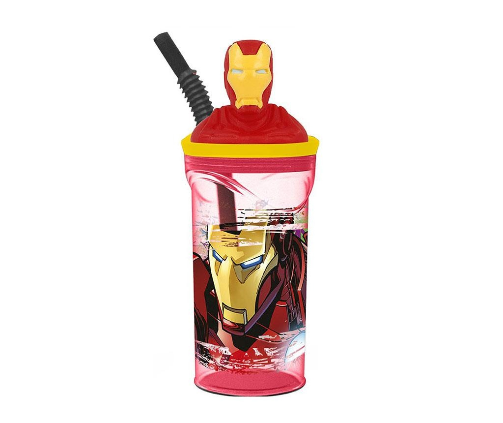Iron Man Pohár fedővel és szívószállal 360 ml