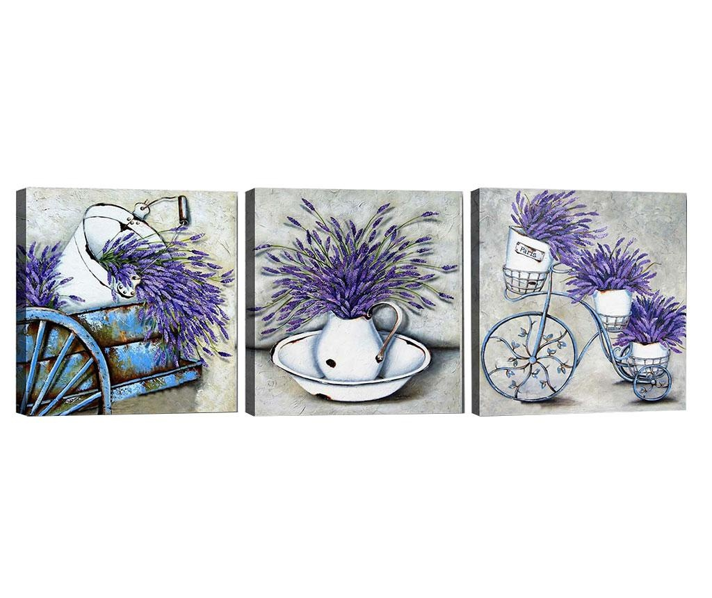 Set 3 tablouri Lavender Bouquet 30x30 cm
