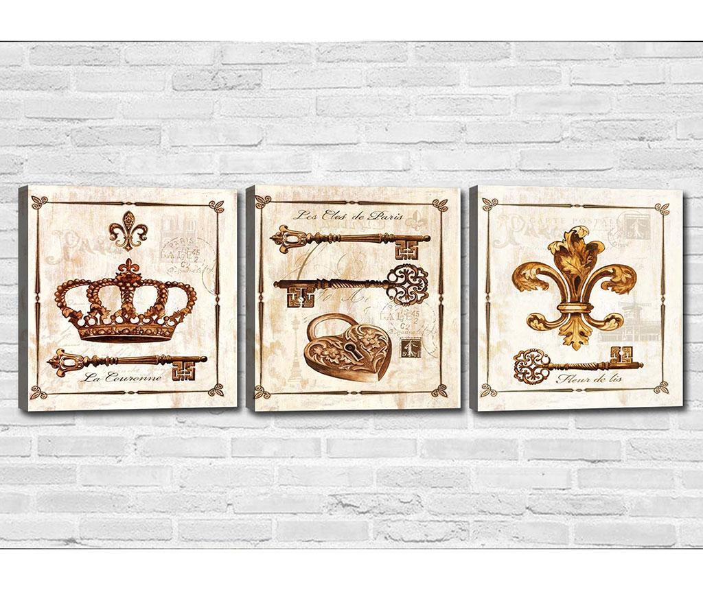 Set 3 tablouri Les Cles de Paris 30x30 cm