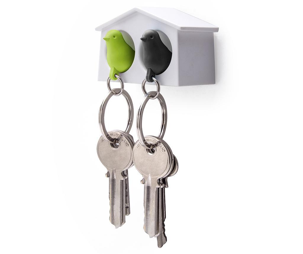 Zestaw 2 breloczków z wieszakiem na klucze Mini Sparrow White Green Black