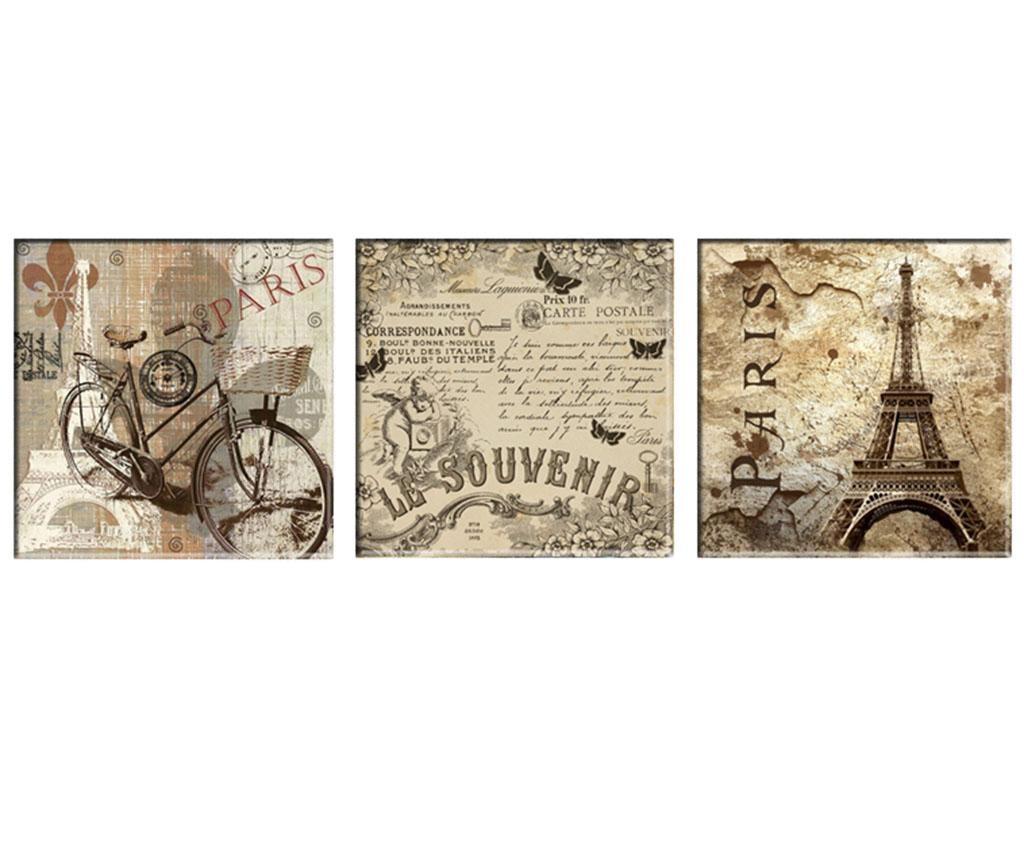 Set 3 tablouri Vintage Paris 30x30 cm