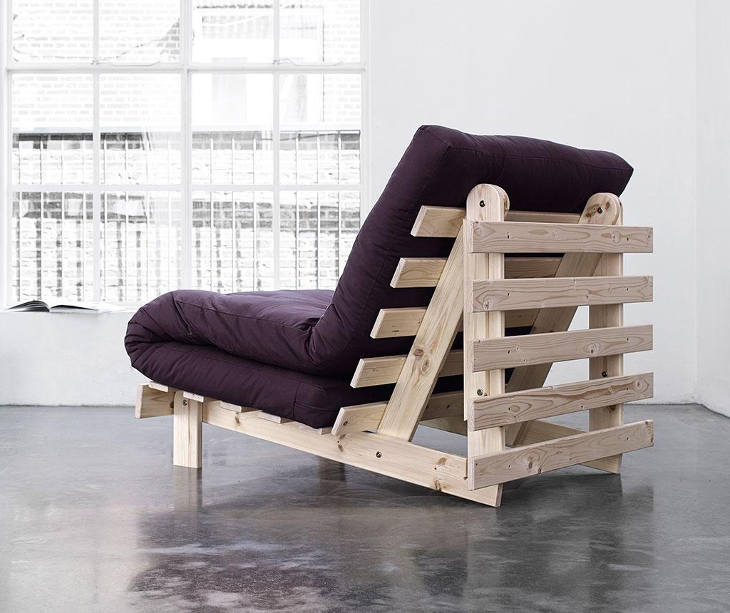Sofa extensibila Roots Natural and Purple 90x200 cm