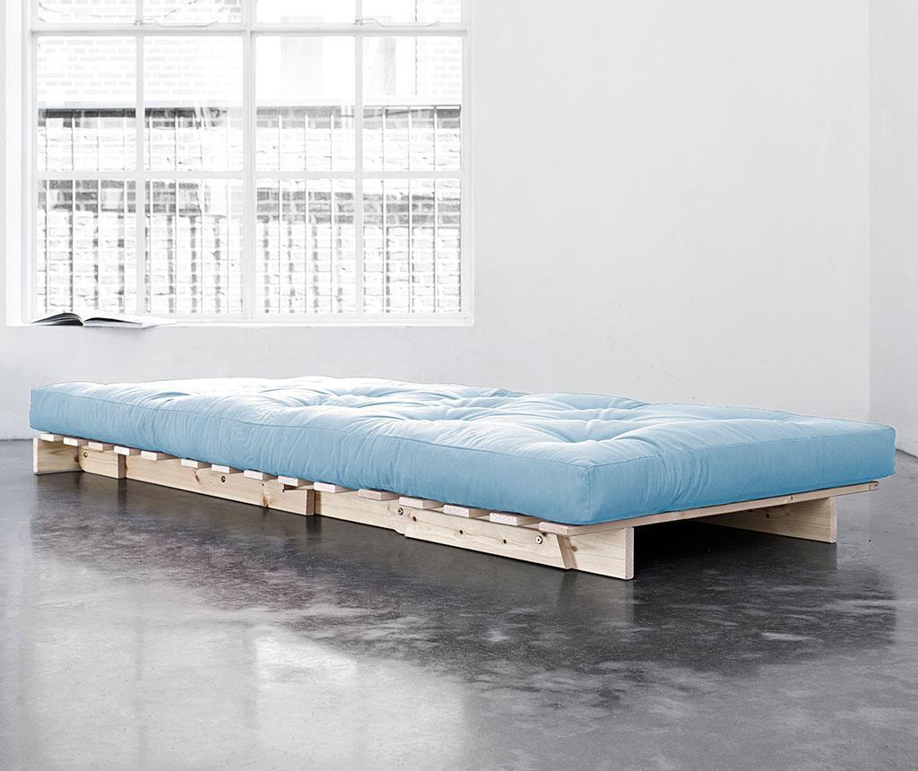 Sofa extensibila Roots Natural and Celest Blue 90x200 cm